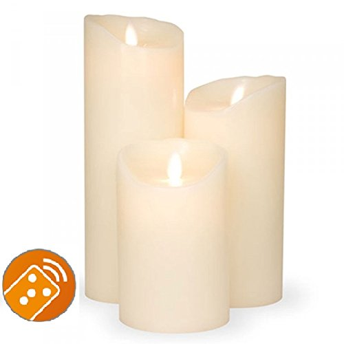 Juego de 3. Sompex Vela/velas cera real LED operable V14marfil 8x 12,5cm–8x 18cm–8x 23cm–Bundle (Juego de 3)