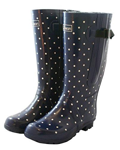 Bottes de pluie - Femme - Mollets larges - Jusqu'à 53 cm Bleu marine à pois