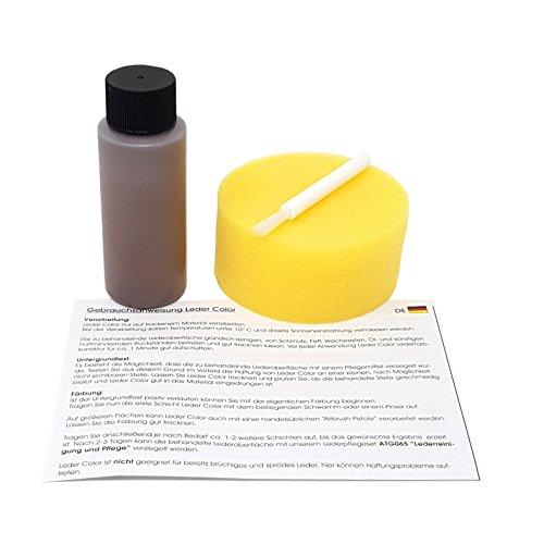1-2-3 REPAIR Lederfarbe Schwamm und Pinsel Farbauffrischer Lederfärbemittel Braun 57ml