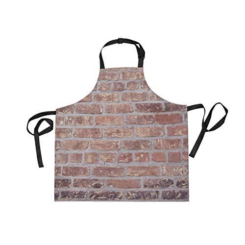 XiangHeFu Latzschürze mit 2 Taschen, Mauerstein, 69,8 x 73,7 cm, Verstellbarer Nackengurt für Männer und Frauen, zum Kochen, Backen, Kochen, Küche