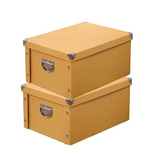 Shinylife - scatola decorativa in cartone con coperchio e manico in metallo, pieghevole, multiuso, per ufficio, foto, armadio, camera da letto, 2 pcs - yellow, 30cm(l) x 20cm(w) x 15cm(h)