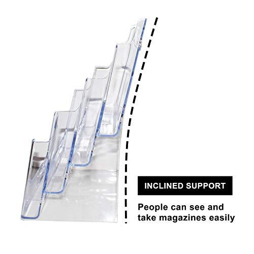 Expositor Expositor de folletos Soporte de folletos Soporte panfletos Acr/ílico Soporte folletos DIN A5