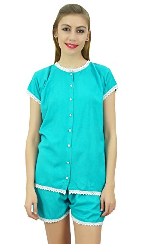 Bimba Frauen Aqua blaue Taste nach unten Spitze Pj Set Rayon Nachthemd Shorts Set - 48 (Button-down-pj)