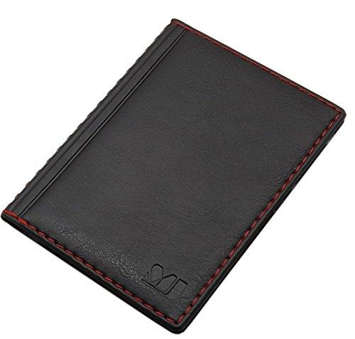 Porta carte d'identità e carte di credito con 4 scomparti MJ-Design-Germany Made in UE in diversi colori e designs (Design 1 / Nero) Design 4 / Nero