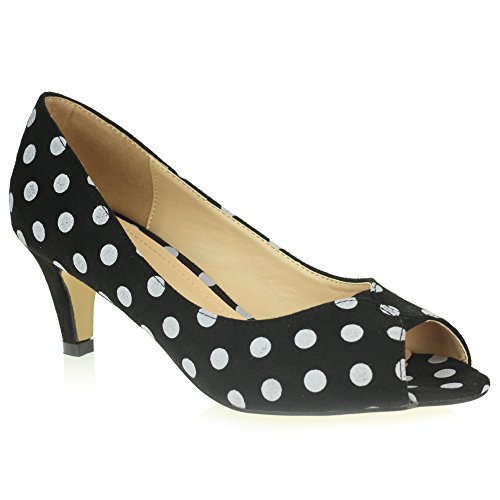 Frau Damen Abend Hochzeit Party Abschlussball Gepunktet Beiläufig Schlüpfen Peeptoe Sandalen Schwarz Schuhe Größe 38