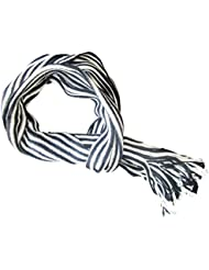 *** PROMOTION *** Echarpe Homme rayée noir blanc multicolore (Dimensions: 154 X 22 cm et 100% acrylique)