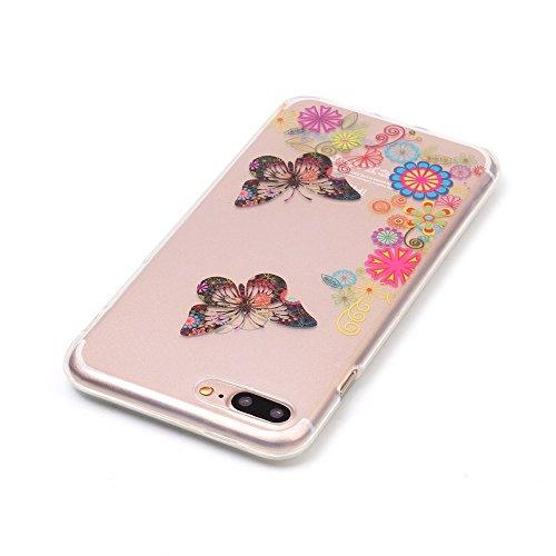 iPhone 7 Plus Coque,iPhone 7 Plus Cover,iPhone 7 Plus Silicone Case - Felfy Ultra Light Mince Slim Gel Souple Soft Flexible TPU Cas Color Motif Couvrir Protector Housse Anti Scratch Couverture de Prot Papillon