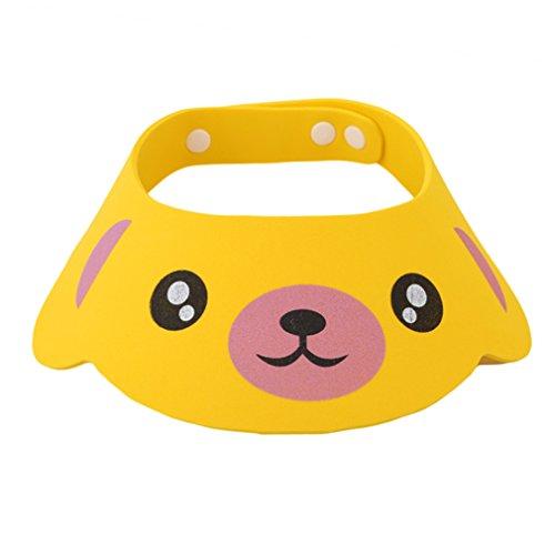 Preisvergleich Produktbild HENGSONG Kinder Baby Verstellbarer Shampoo Schutz Duschhaube Duschkappe Badekappe Ohrschutz Mütze Bath Shower Cap (Gelb)