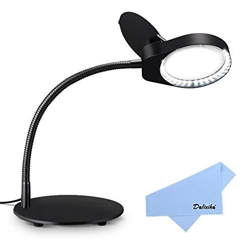 Delixike 3-fache Vergrößerungslampe - Tisch- und Schreibtischlupe mit ultraheller energiesparender LED-Licht, tolle freihändige Lupe zum Lesen, Hobby, Handwerk, Werkbank, Diamantkunst (Werkbank Lupe)