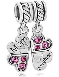 Plata de Ley para madre hija Love Heart European Bead Charm