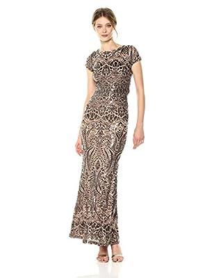 Betsy & Adam Women's Cap Sleeve Long Sequin Gown Cocktail Dress