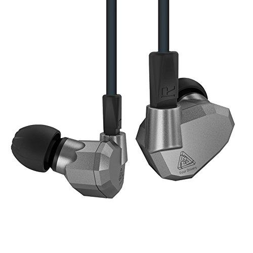 Quad Fahrer Kopfhörer, KZ ZS5High Fidelity Extra Bass In-Ear, ohne Mikrofon, mit abnehmbarem Kabel