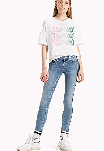 Tommy Jeans Hilfiger Denim Kurzarm T-Shirt Rundhals Schrift-Print Glitzer weiß Weiß