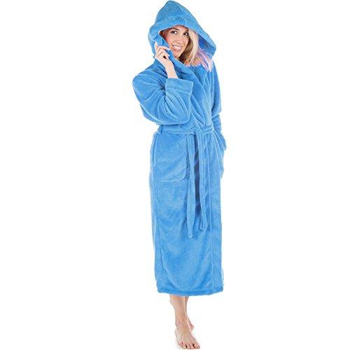 CelinaTex Samos Bademantel Kapuze Damen Herren M blau Sherpa-Fleece Morgenmantel wadenlang Saunamantel Unisex - Blaue Fleece Bademantel