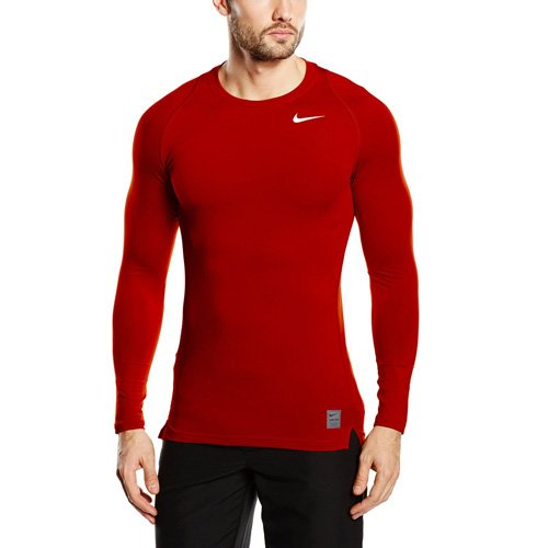 Nike Pro Cool - Maillot de compression - manches longues - Homme - Rouge (Rouge Sportif/Rouge Equipe/Blanc) - Taille: XL