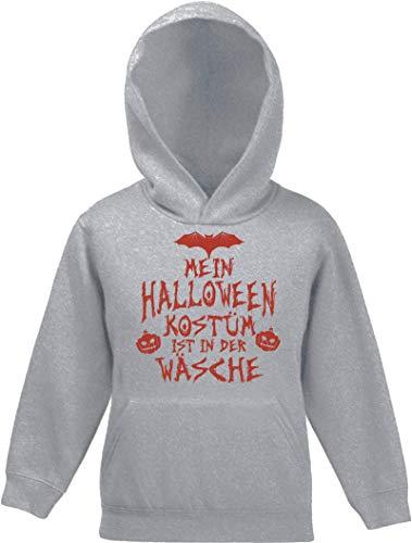 ShirtStreet Grusel Gruppen Kinder Hoodie Kapuzenpullover Mädchen Jungen Mein Halloween Kostüm ist in der Wäsche 3, Größe: 116,Graumeliert (Mädels Der Halloween-kostüme Drei)