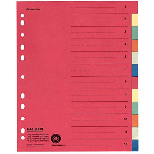 Original Falken Karton-Register überbreit. Made in Germany. Für DIN A4 24 x 29,7 cm volle Höhe mit Organisationsdruck 12-teilig vollfarbig 2 x 6 Farben zur Ablage von Prospekthüllen