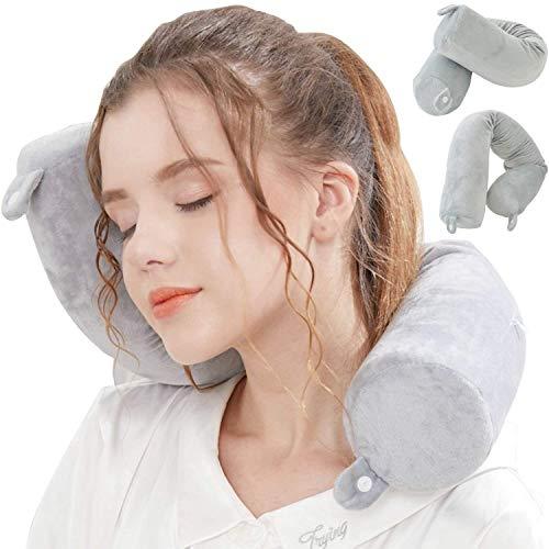 Lucear Memory Foam Leichte Schlafkissen waschbarer Flugzeug Halsstütze Kopfstütze Reise-Nackenkissen mit Schlafmaske, Ohrstöpseln Und Tragetasche (grau)