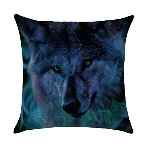 OPoplizg Animal Cushion Cover Leopard Wolf Tiger Rabbit Printing Double-Sided 120g Thick Cotton Square Pillowcase 45cm x 45cm(18 x 18inch) -