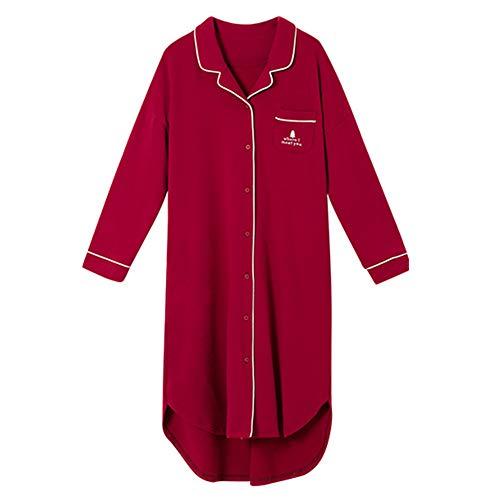 DISCOUNTL Baumwoll-Nachthemd für Frühling und Herbst, koreanische Version der Cardigan Pyjama langärmlig Langer Abschnitt der Jungen Damen Rot Bademäntel für Frauen Gr. Large, rot