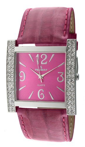 Peugeot Women's 324PR Silver-Tone Swarovski Crystal Accented Purple Leather Strap Watch