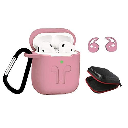 LBG Products Schutzhülle aus Silikon für Airpods und Schutzhüllen, 2 Ohrhaken, 1 wasserdichte Eva Tasche, kompatibel mit Apple AirPods 1. / 2. Ladehülle [LED vorne] Rose (Baby Ohrhaken)