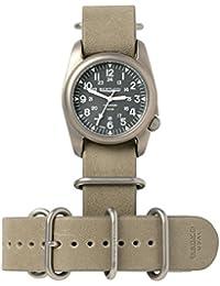 Bertucci h12109Unisex titanio patrimonio marrón cuero banda negro Dial reloj