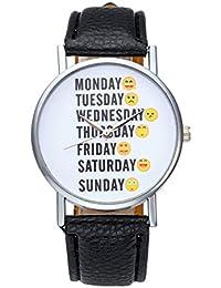 JSDDE RELOJ UNISEX Diseño Emoticonos Emoji con Días de Semana de Moda Super Original, Banda de Cuero PU Negro, Caja Aleación Inoxidable, Reloj Pulsera Analógico de Cuarzo para Señoras Caballeros