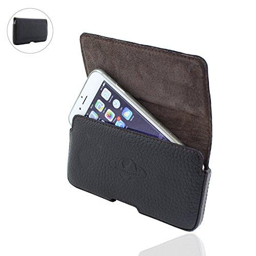 Smart-Planet® hochwertige Design Echt Leder Gürteltasche kompatibel mit iPhone 8 X Xs 6 7 Samsung Galaxy Xcover 4 S7 S6 A5 J3 J5 Sony Xperia Handy Tasche 3XL schwarz