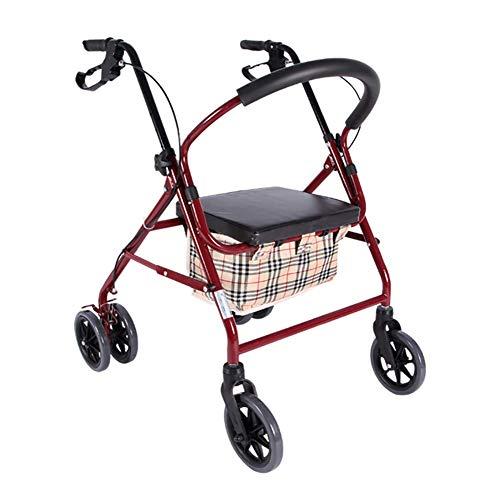 KOSHSH Faltleichtes Rad Rollator Walker Multifunktion 3 In 1 Mit Pad Seat Einkaufswagen Trolley -