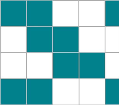 Stickerkoenig Fliesenaufkleber Kacheldekor 25x20cm Badezimmer Küche 40 Stück in glanz Farbe Türkisblau
