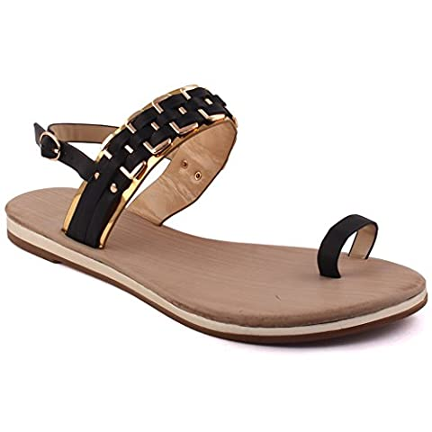 Unze New Women Frankie Chain Strap Summer Beach Party Get Together Carnival Casual Flat Toe-Ring Sandals 4 UK