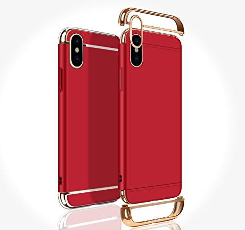 Vandot Exclusif Design Coque Étui pour iPhone X / iPhone 10 Détachable Air Plastique Dure de PC Retour Bumper Case Cover pour iPhone X 5.8 Pouces Ultra Slim Thin 0,9 mm Matte Building Pratiques de Pro Détachable02-Rouge
