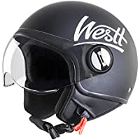 Westt® Classic · Casco Moto Abierto Negro con Visera - ECE homologado