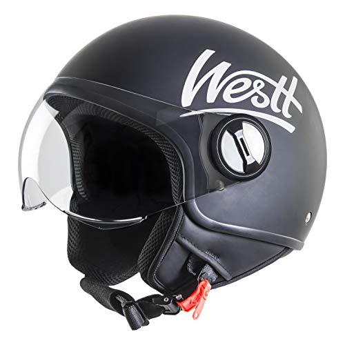 Westt Classic · Casco Jet Vintage Moto Nero Opaco Scooter Motorino Chopper · Casco Moto Donna e Uomo Demi Jet · Omologato ECE
