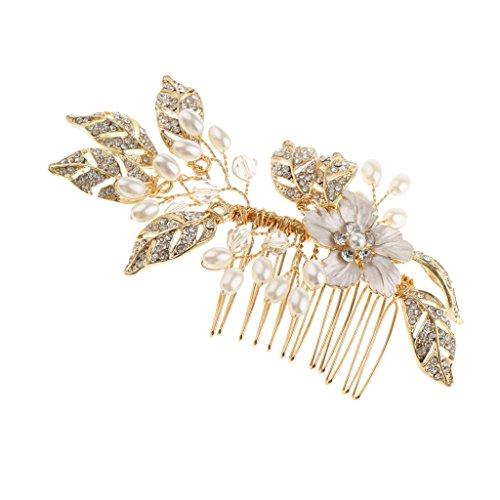 Sharplace Strass Haarkamm Haarschmuck Hochzeit Zubehör Haarspangen Haarklammern für Brautfrisur Kommunion Konfirmation Taufe Party - Perlen Blätter