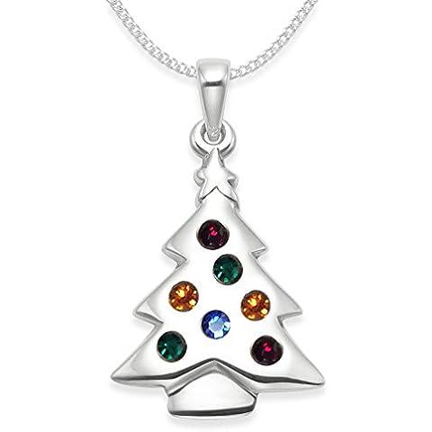 Albero di Natale, in argento Sterling, con catenina in argento, Zirconia cubica, con pendente a forma di albero di Natale, dimensioni: 23 x 16 mm, motivo: