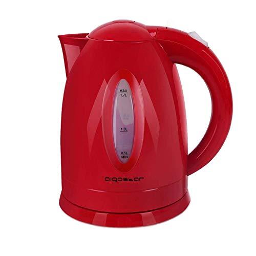 Aigostar Ruby 30JQO - Hervidor de agua de 1,7 litros, 2200 W, libre de BPA, apagado automático y sistema de protección contra la ebullición en seco. Color rojo. Diseño exclusivo.