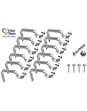 Smart Shophar Stainless Steel Curtain Support Pack of 12 Pieces, Silver