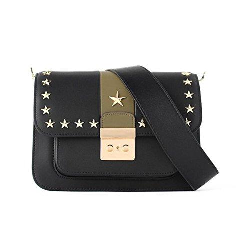 Damen Leder Schultertasche Hit Farbe Sperre Breite Riemen Messenger Bag Niet Kleines Quadrat Paket Black
