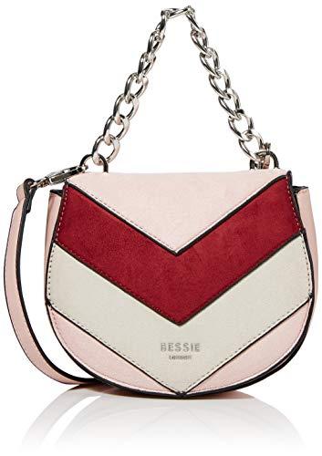 Bessie London Damen Ring Chain Handle Colour Block Suede Umhängetasche, Pink, 7x18x15 Centimeters