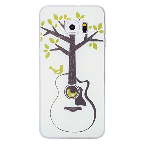Galaxy S6 Edge Plus Soft Silicone Tpu Coque Mode,Transparent Coque pour Samsung Galaxy S6 Edge Plus,Ekakashop Ultra Mince Jolie Balle Violet Design Souple imprimée Etui Housse de protection Cristal Cl Guitare Arbre