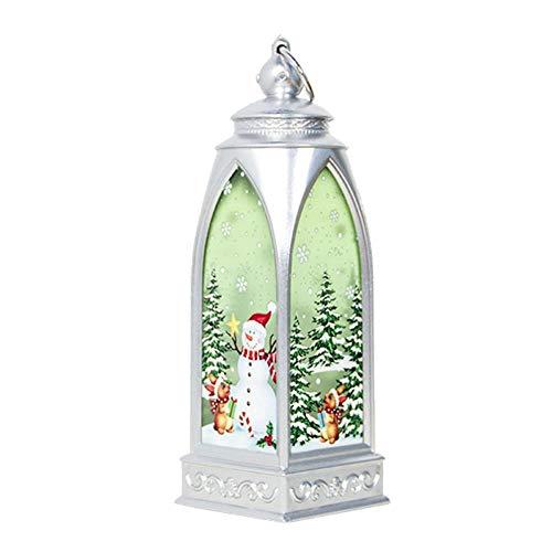 Chidjon LED Schneelaterne Weihnachtslaterne Indoor Outdoor Vintage LED Hängelaternen mit warmweißen Lichtern Lampe Batteriebetrieben für Weihnachtsfeier Hausgarten Dekoration (B)