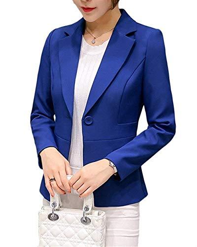 ORANDESIGNE Damen Elegant Blazer Langärmliger Anzugjacke Einfarbig Blazer Business Slim Fit Bolero Jacke Anzug Trenchcoat Blau DE 34 -