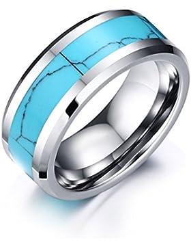 Vnox 8mm Wolframkarbid Ring Blaue Türkis Einlegearbeit hohe polnische abgeschrägte Rand Hochzeits Band,silberne...