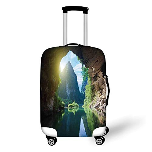 Travel Luggage Cover Suitcase Protector,Natural Cave Decorations,Mountain and Sky View from The Grotto Viatnemese Tam COC Park Myst Nature Photo,Multi,for Travel,S