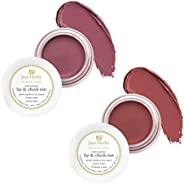 Just Herbs Vegan Lip and Cheek Tint ( Pack of 2) : Subtle Day-Wear Must Haves - Peachy Coral and Pale Pink