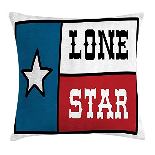 Texas Star Throw Pillow Cushion Cover, Lone Star Flag United States of America Themed Patriotic Design, Decorative Square Accent Pillow Case, 18 X 18 inches, Cobalt Blue Ruby White - Cobalt Blue Candy