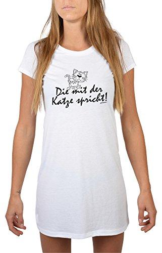 Goodman Design ® Lustiges Katzen Nachthemd tierische Sprüche : Die mit der Katze Spricht! - Longshirt Damen Katze Farbe: Weiss Gr: M