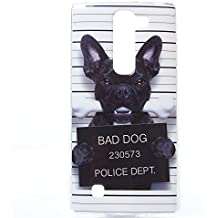 Voguecase® Para LG Magna/LG G4c, TPU Funda de Silicona de Gel Carcasa Tapa Case Cover (perro negro) + Gratis aguja de la pantalla stylus universales